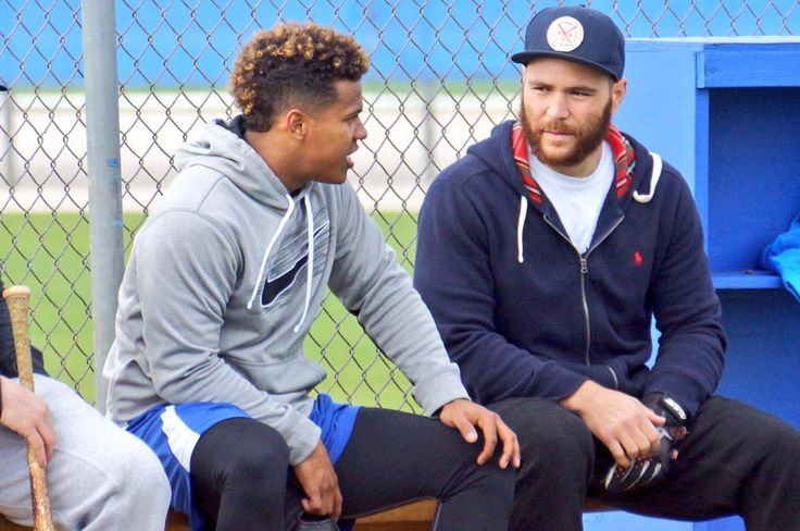 Marcus Stroman and Russell Martin of the Toronto Blue Jays