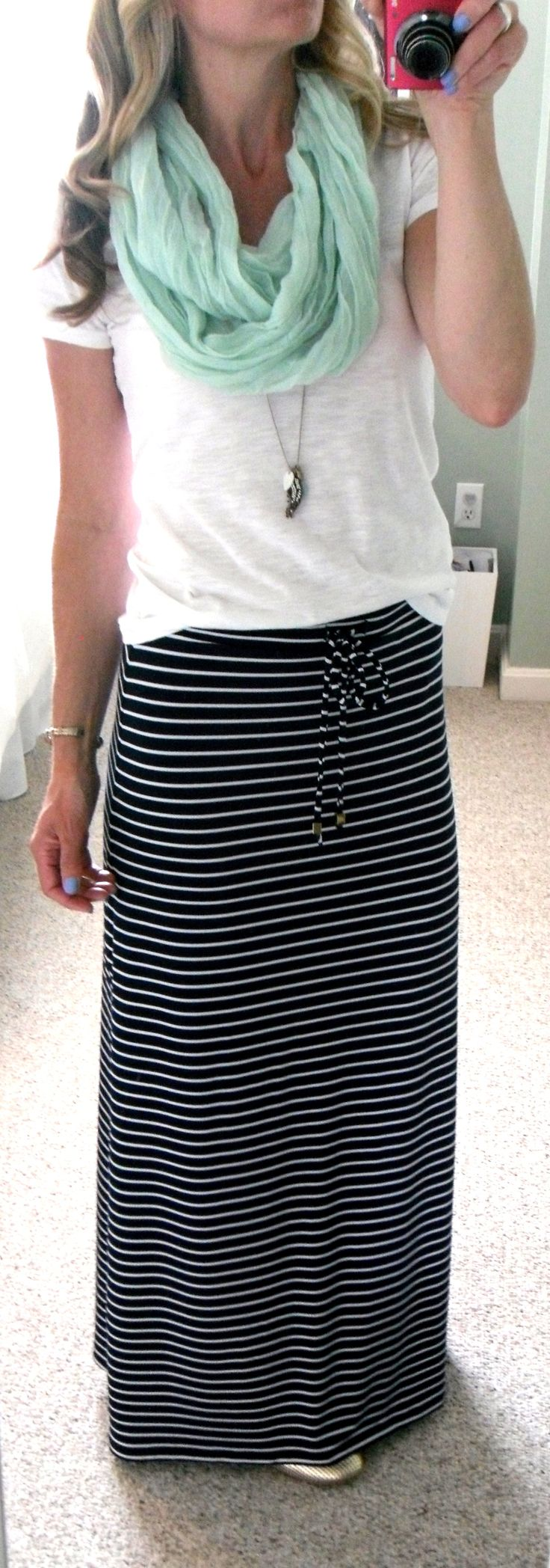 "Michael Kors navy blue and white stripe maxi skirt, F21 white slub knit v-neck t-shirt, mint infinity scarf, AE necklace, Target gold perforated ballet flats, Sally Hansen nail polish in ""Set Sail"""