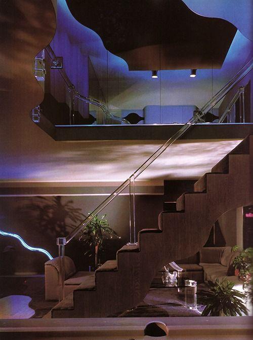 Stairs Neon Interior Design Architecture Tumblr Luxury Life 1980s Vintage Mansions Loft