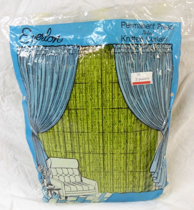 Vintage New Pair Lime Green Curtains Everlon Knitted 40 x 80 inch each Washable