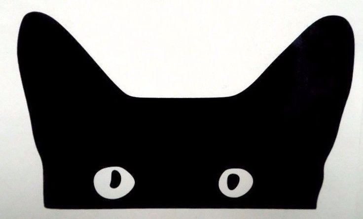 Cat face eyes peeking funny cool car window vinyl decal