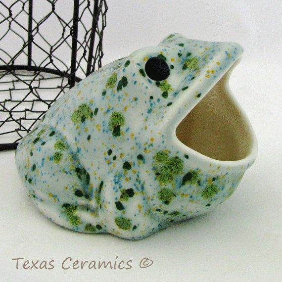 196 best images about animal cotton ball dispensers on pinterest ceramics white ceramics and - Frog sponge holder kitchen sink ...