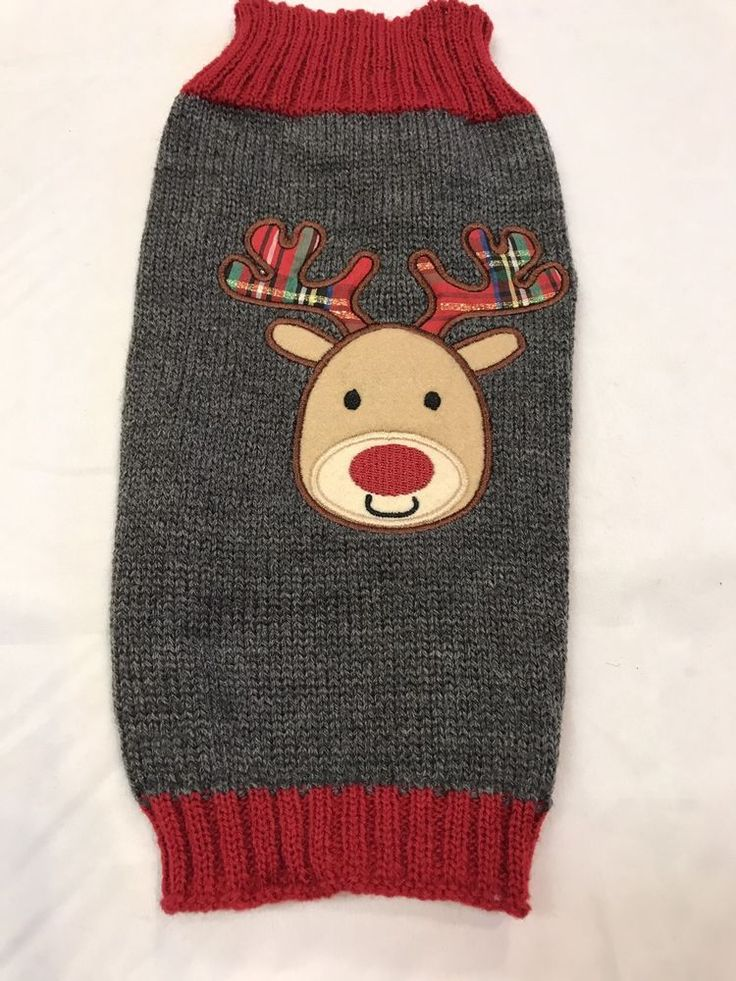 Pet Clothes Dog Christmas Sweater Size Medium Knit Grey Brown Reindeer Red Nose  | eBay