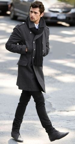 Charcoal trench + black wool scarf