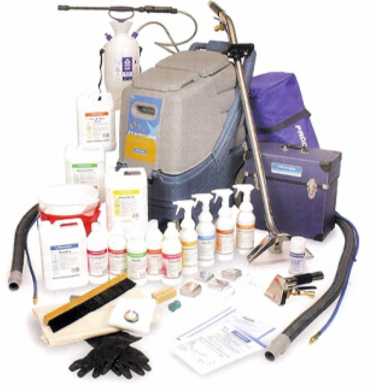 Prochem Steempro PowerFlo Starter Package - Prochem offer this complete starter kit to help any professional carpet cleaner. The complete package must be purchased to obtain the free chemicals, a one day training voucher is provided with all carpet cleaning machines worth over £1000.