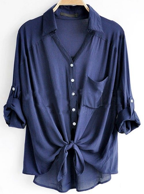 Navy Loose Shirt - Click image to find more Women's Fashion Pinterest pins