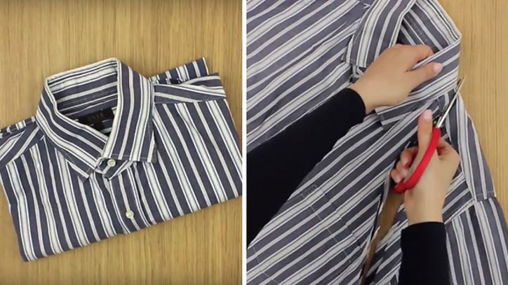 DIY: Transform shirt into a fashionable collared apron : Video Clips From The Coolest One Shirt Transformation, Old Shirts, Facon, My T Shirt, Striped Pants, Alter, Collars, Ideias Fashion, Pajama Pants