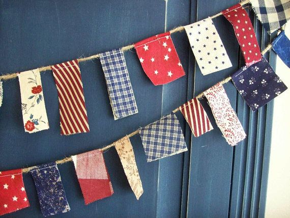 Patriotic Scrappy Banner/ 4th of July  Banner/ Labor Day  / Party Garland/ Photo Prop in Vintage Red, White and Blue via Etsy