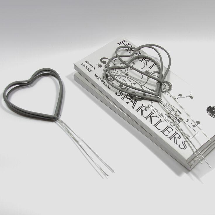 Metal smokeless and super cute Heart Sparklers, perfect for Weddings! WeddingSparklersUSA.com
