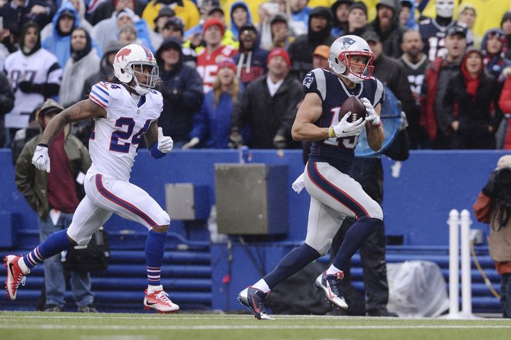 Patriots vs. Bills:  October 30, 2016  -  41-25, Patriots  -    New England Patriots wide receiver Chris Hogan (15) runs away from Buffalo Bills' Stephon Gilmore (24) for a  touchdown during the first half of an NFL football game Sunday, Oct. 30, 2016, in Orchard Park, N.Y. (AP  Photo/Adrian Kraus)  AP, ADRIAN KRAUS