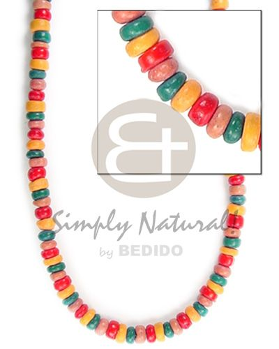 4-5mm Coco Pokalet Tan/grn/red/mango Orange Teens Necklace