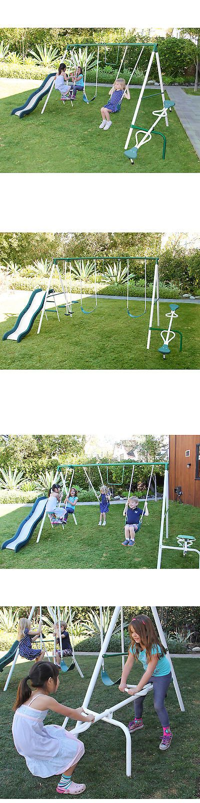 Swings Slides and Gyms 16515: Metal Swing And Slide Set 2 Swing Seats Trapeze Slide Teeter-Totter Glide Ride -> BUY IT NOW ONLY: $184.98 on eBay!