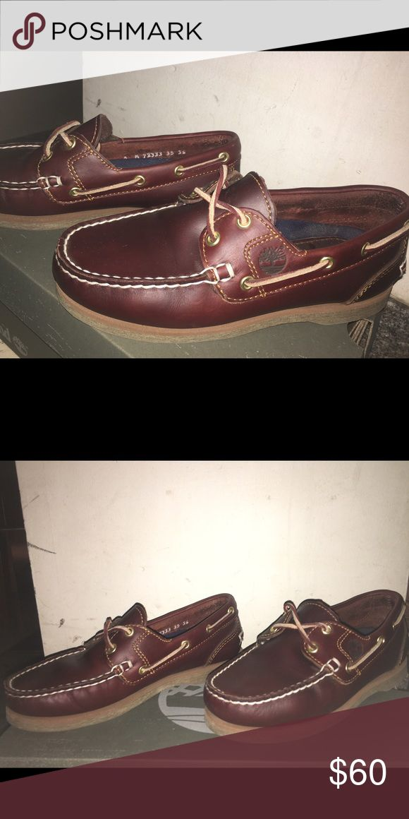 Timberland classic boat shoes Only wore these once. I'm open to new offers if you really like them(: Timberland Shoes Flats & Loafers