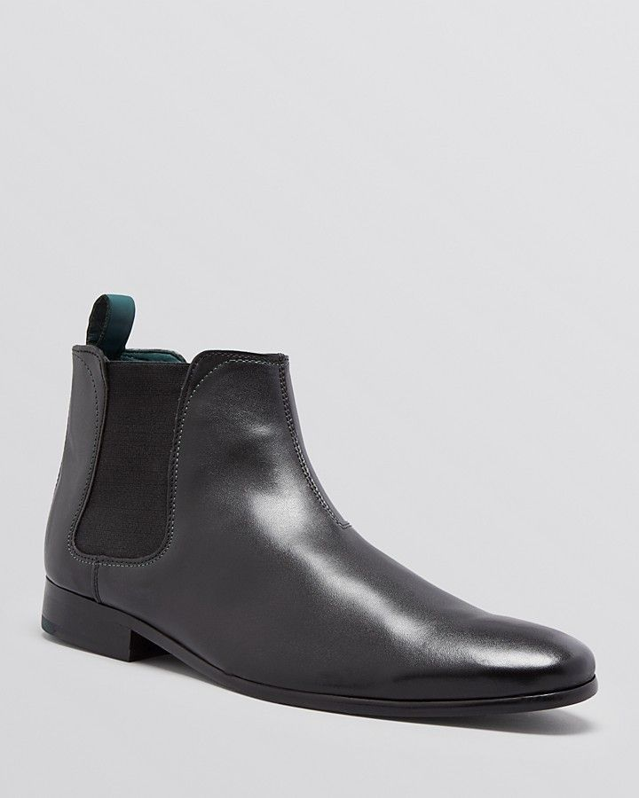 $138, Black Leather Chelsea Boots: Ted Baker Buurg Chelsea Boots. Sold by Bloomingdale's. Click for more info: https://lookastic.com/men/shop_items/69344/redirect
