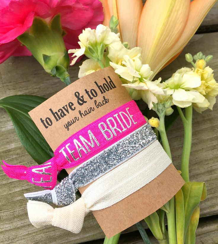 Team Bride Bachelorette Party Hair Ties - Cheers Set of 3 Hair Ties - Bachelorette Party Favors, Will You Be My Bridesmaid, Silver, Hot Pink by BlueberryHairTies on Etsy