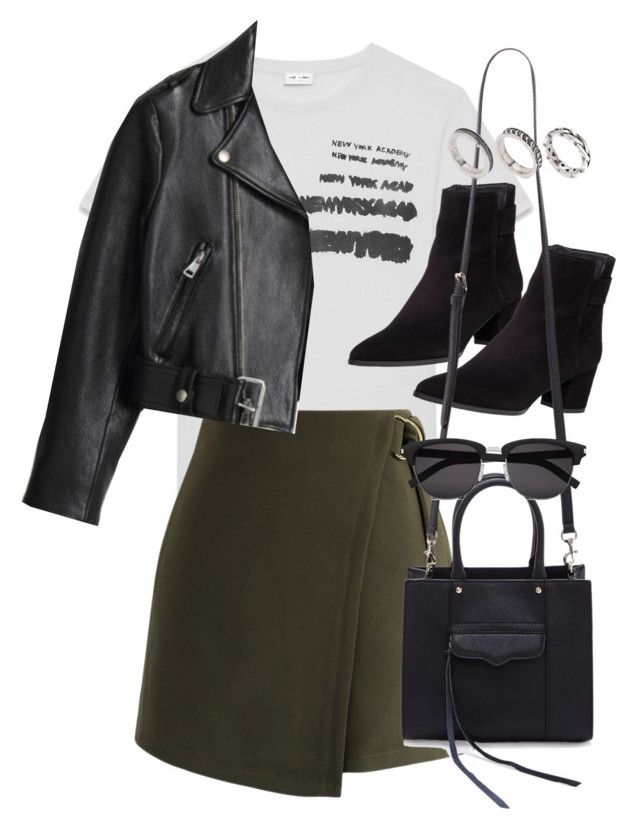 """""""Sin título #2428"""" by marianam97 ❤ liked on Polyvore featuring Yves Saint Laurent, Chicwish, Acne Studios, Stuart Weitzman, Rebecca Minkoff and ASOS"""