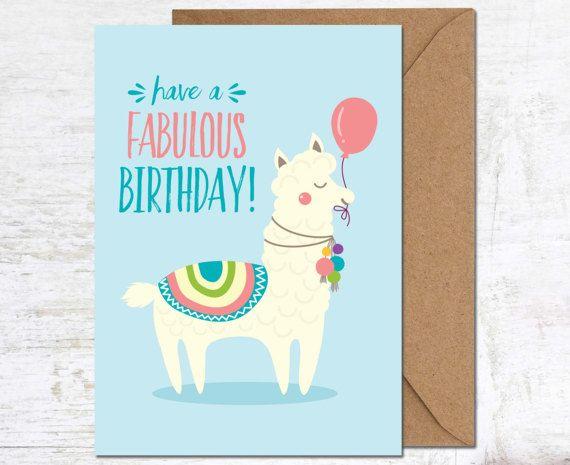 Llama Card Birthday Alpaca Funny Cute Animal