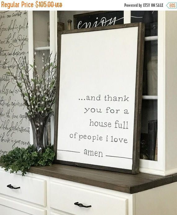 FOURTH Of JULY SALE And Thank You For A House Full People I Love Amen 24 X 32 Wood Framed Sign Living Room Wall Decor Dining Wa