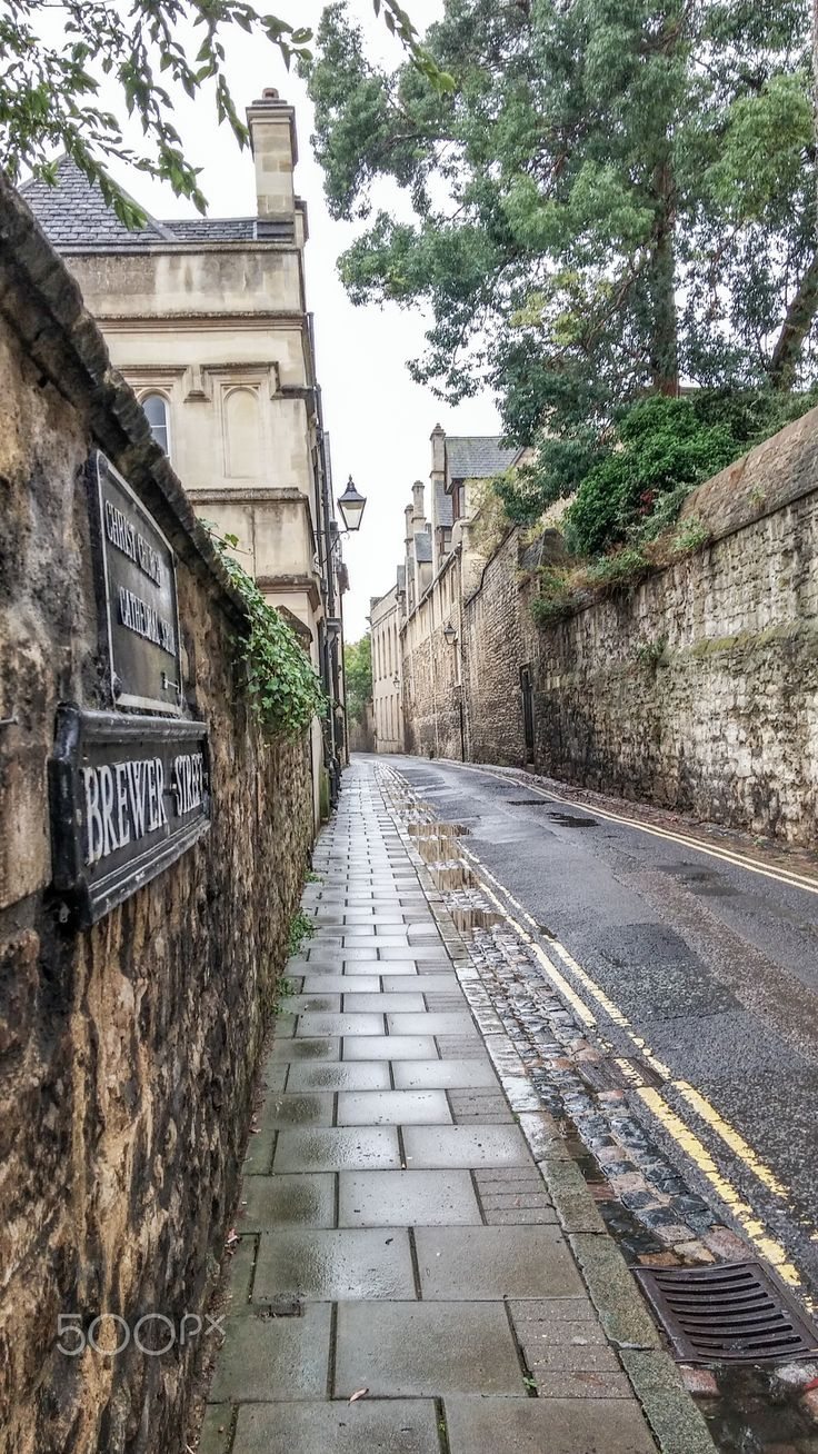 A street near Christ Church College, Oxford.                                                                                                                                                                                 More