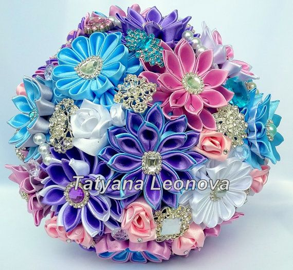 Fabric Wedding Bouquet Brooch bouquet Blue Lilac Pink от LIKKO