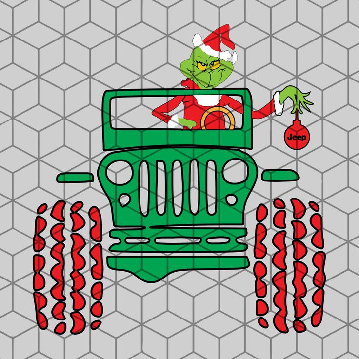 Grinch driving jeep christmas SVG Files For Silhouette