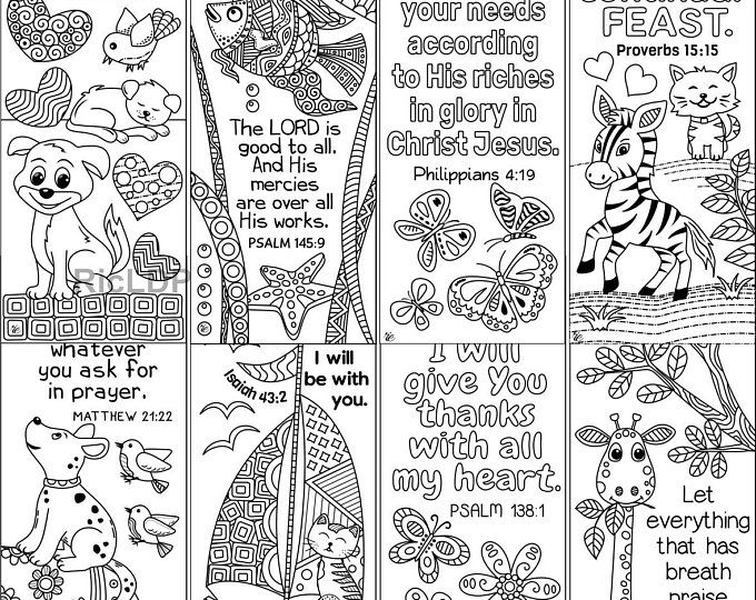 Set Of 8 Bible Verse Coloring Bookmarks Bookmark Doodles With