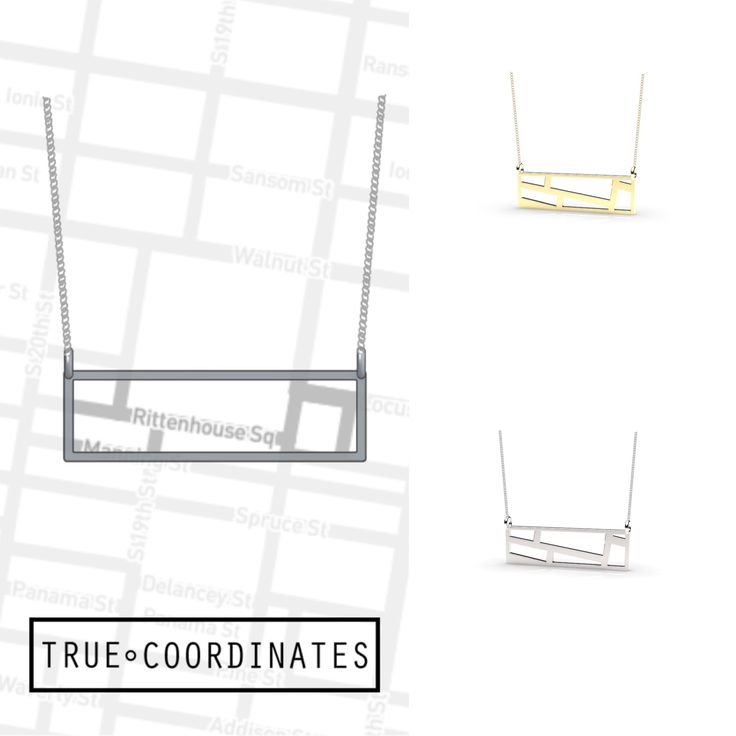 This True Coordinates Horizontal Map Pendant Necklaces is from Rittenhouse Square in Philadelphia. Use our custom map too to create your own at truecoordinates.com