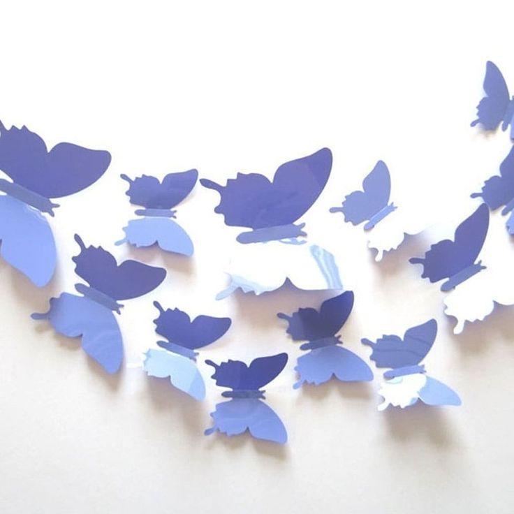 12-Pcs 3D Butterflies Wall Stickers Fashion Design DIY Butterfly Art Wall Vinyl 11 x 11