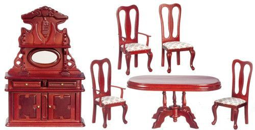 6pc Victorian Dining Room Set - Mahogany with White Floral