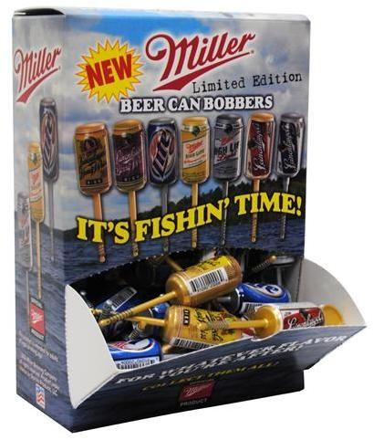 """Wholesale fishing bobbers: Beer Can Fishing Bobbers 4.5"""" Assorted in Counter Display. These wholesale fishing bobbers are a limited edition assortment of beer cans including 4 varieties of Leinenkugel® and 3 varieties of Miller High Life®. Looks as though someone had tossed an unwanted empty beer can into the water. Great eye catching counter display. 72 per display case of fishing supplies."""