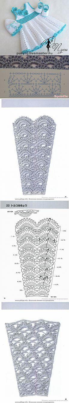 Платья от Пуси для маленьких девочек + схемы юбок крючком. | razpetelka.ru