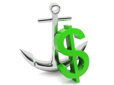 Anchor with dollar sign, showcasing maritime trade