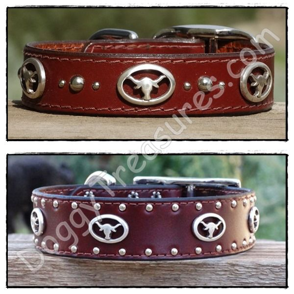 San Antonio Custom Leather Dog Collars for Large Dogs - Widths: 1 (top) and 1.5 (bottom)