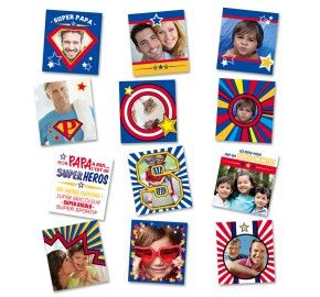 Lot de 12 stickers repositionnables à personnaliser avec vos propres photos une idée de cadeaux originales pour un super papa.