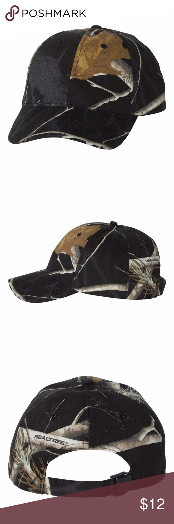 Real Tree Camouflage Adjustable Hat NEW by Kati Brushed cotton/polyester blend Blaze is 100% polyester Structured, six-panel, mid-profile Pre-curved visor with matching undervisor Sewn eyelets Self-fabric Flex-Strap closure Real Tree Camouflage Adjustable Hat Realtree by Kati Accessories Hats