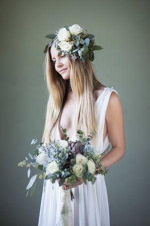 Brudebukett og krans hvit og grønn