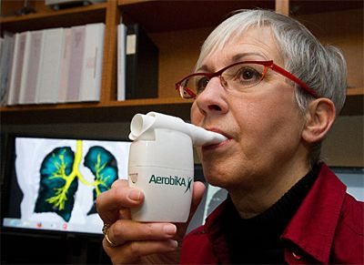 Trudell Medical, out of London, ON, has a cool new device that should help. It is called Aerobika and it is an oscillating positive expiratory pressure device. http://qoo.ly/u5vu #Aerobika