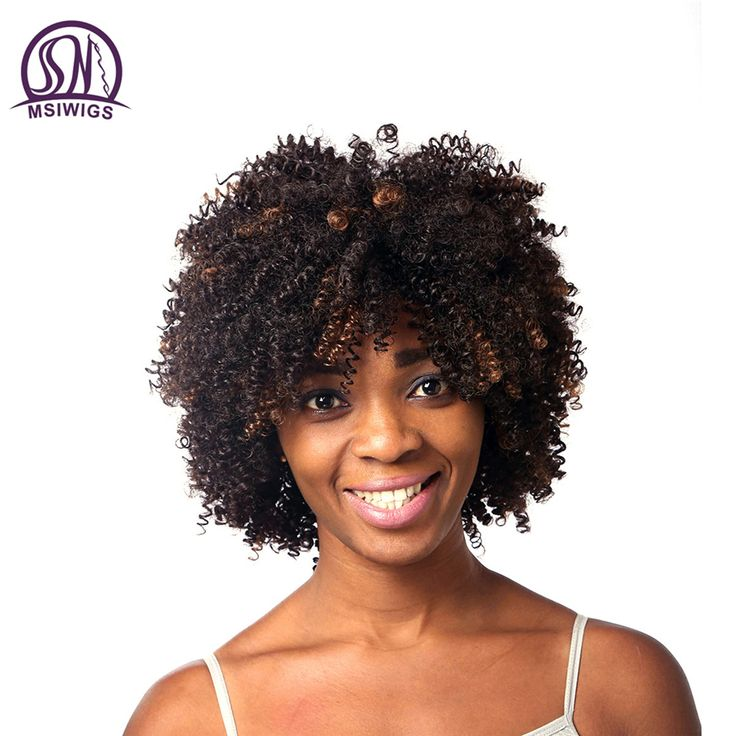 MSIWIGS Afro kinky Curly Wig Synthetic Hair Wigs for Black Women African American Short Female Haircut Ombre Wig