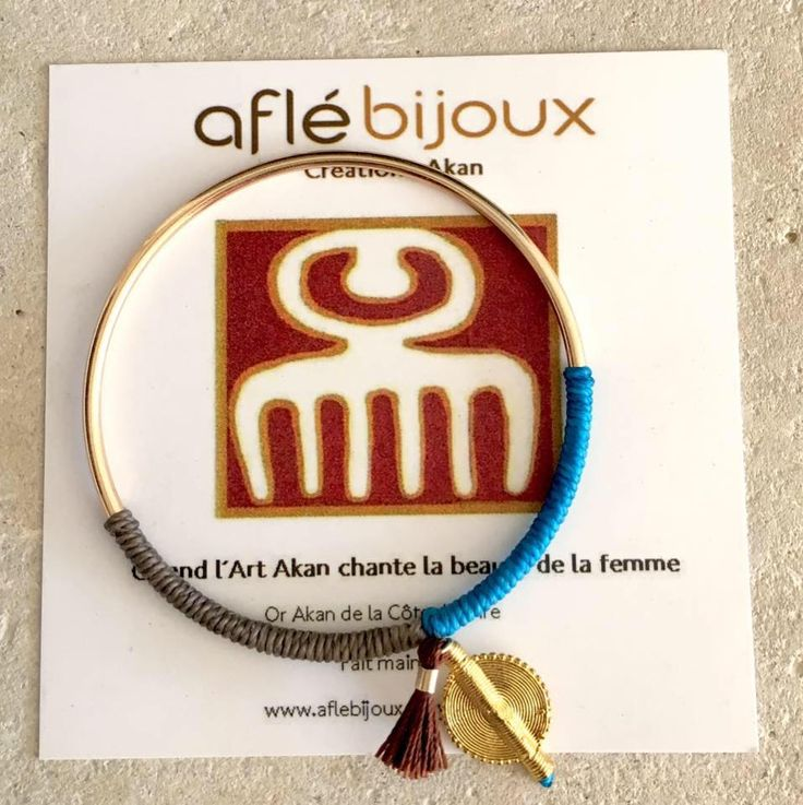 Beautiful bracelet: cotton and Akan goldweight. Handmade. Nickel free. FREE shipping.