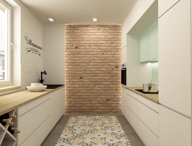 carrealge-carreaux ciment mur brique plan travail cuisine bois naturel