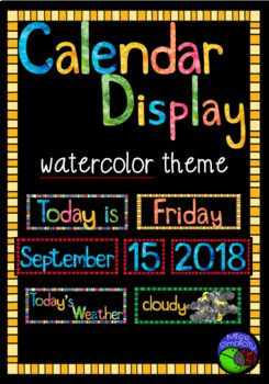 Classroom Calendar Display in watercolor theme.