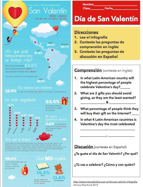 El Día de San Valentín FREE Infografía Activity | Mis Clases Locas