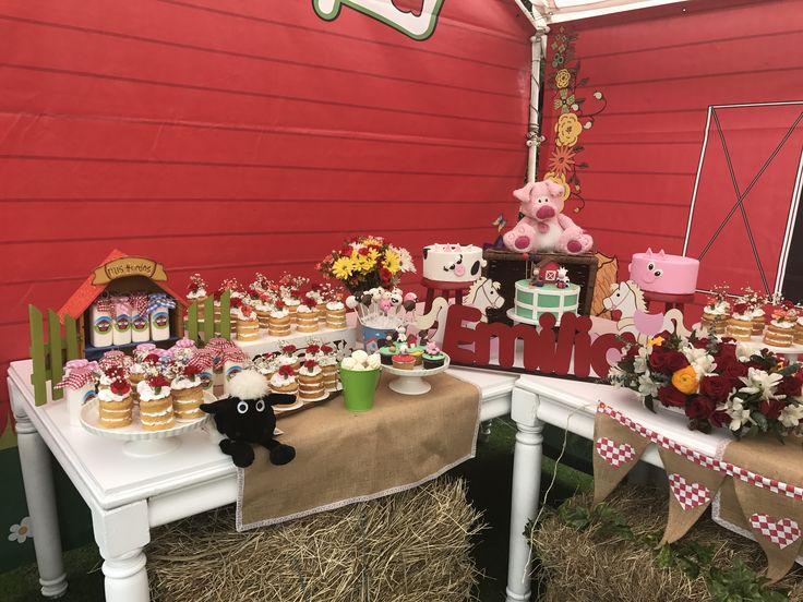 Mesa principal para fiestas de granja.