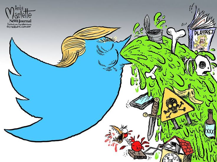 Trump: A New Paradigm ... Raving, Erroneous, Misleading and Vile Polical usage of Twitter for Nefarious Purposes -- Andy Marlette, PNJ Cartoon
