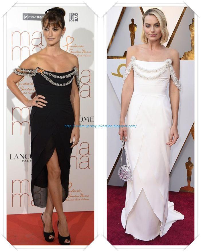 """Un vestido de Chanel Alta Costura otoño 2015 que llevó Penelope Cruz a la premiere de Mama; y que para los Oscar diseñaron """"especialmente en exclusiva"""" para Margot Robbie, esta vez en blanco."""