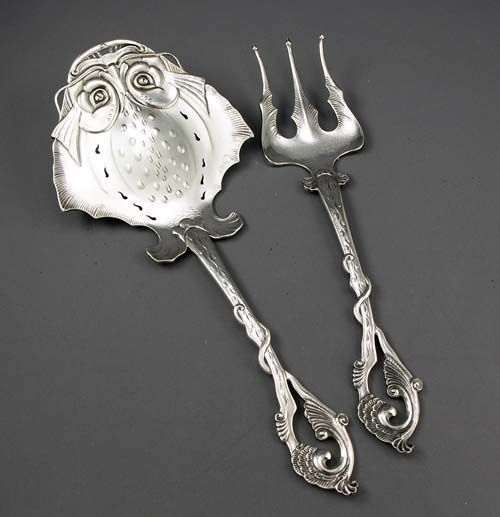 Norwegian Silver Two Piece Fish Serving Set (flat piece in the image of a skate)