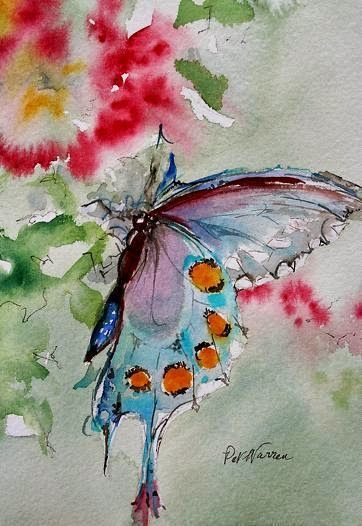 "Watercolor Artists International - Contemporary Fine Art International: Butterfly Art Painting Watercolor ""Butterfly"" by Georgia Artist Pat Warren:"