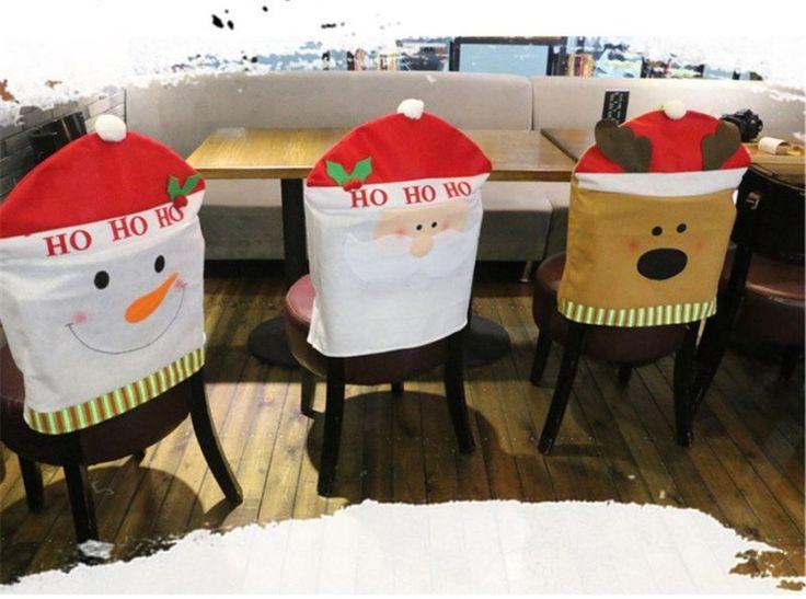 Papai Noel Boneco De Neve Elk Sala De Jantar Cadeira Seat Cover Enfeite De Natal Decoração