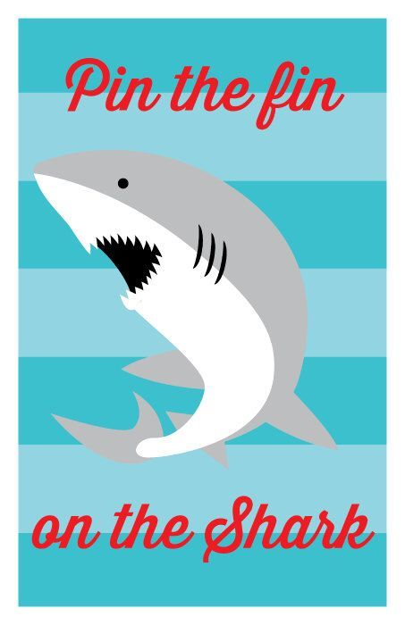INSTANT DOWNLOAD - Pin the Fin on the Shark, Shark Birthday Games, Ocean or Pool Party Games by DelightPaperie on Etsy https://www.etsy.com/listing/291203761/instant-download-pin-the-fin-on-the