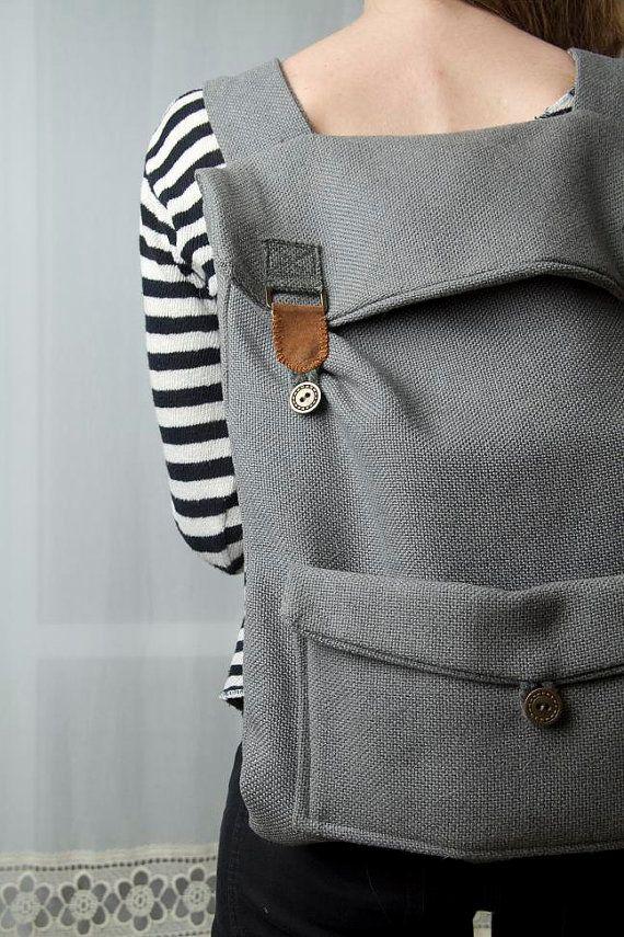 Großer Laptop Rucksack in grau mit braun Schnallen Weihnachtsgeschenk für ihn unter 80 grau Rucksack Hochschule grau Rucksack Tasche große schultüte